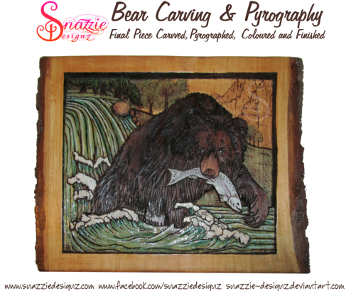 bear carving and pyrography wood burning by snazzie designz final piece