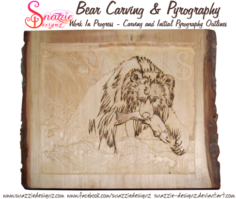 bear carving and pyrography wood burning by snazzie designz work in progress 01