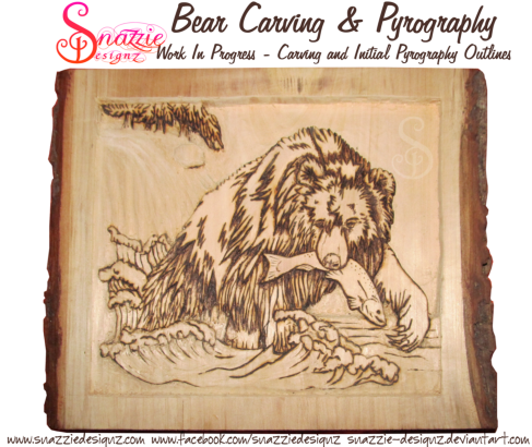 bear carving and pyrography wood burning by snazzie designz work in progress 02