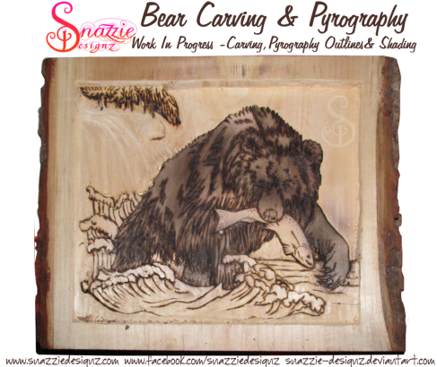 bear carving and pyrography wood burning by snazzie designz work in progress 03