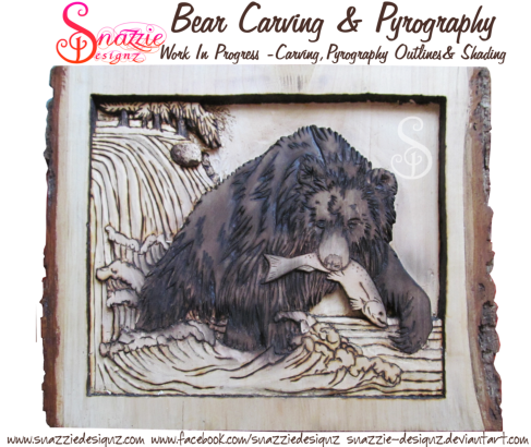 bear carving and pyrography wood burning by snazzie designz work in progress 04