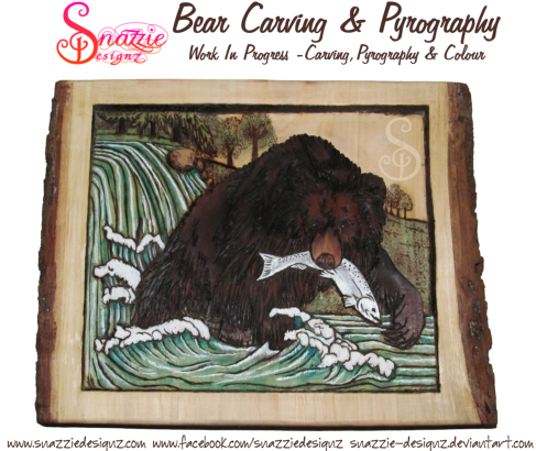 bear carving and pyrography wood burning by snazzie designz work in progress 05
